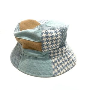 90's Blue Tan Patchwork Houndstooth Bucket Hat